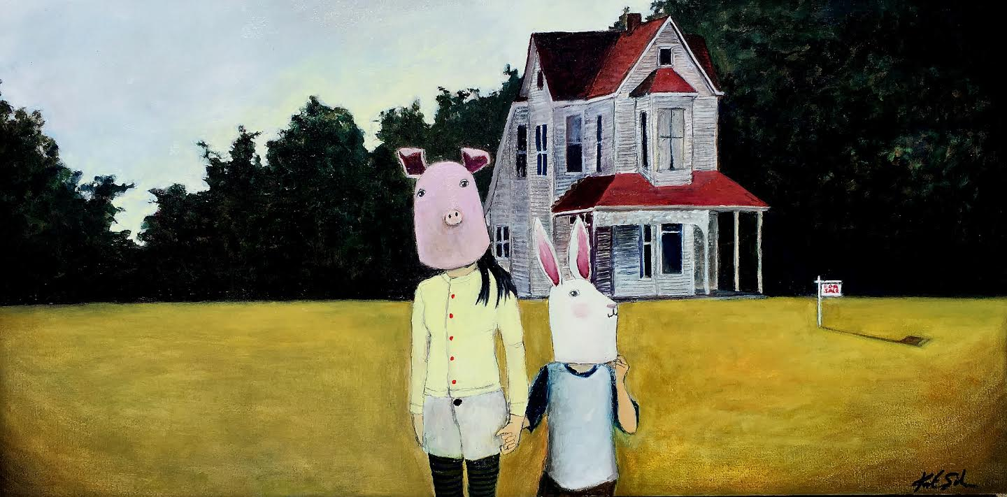 A painting of a pig man and a rabbit woman in a field in front of an old farmhouse.