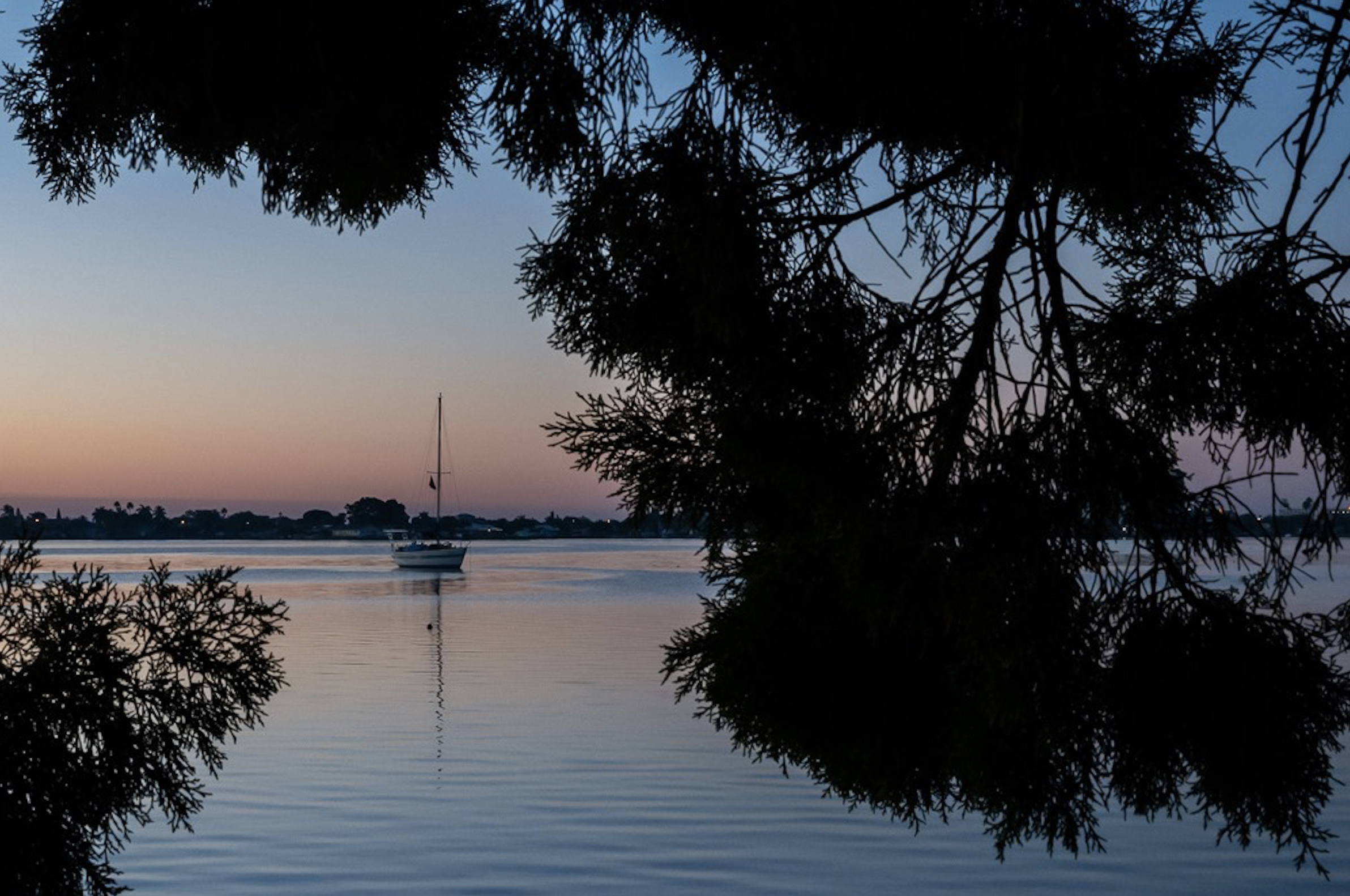 A photo of a boat on the water through the trees at sunset.