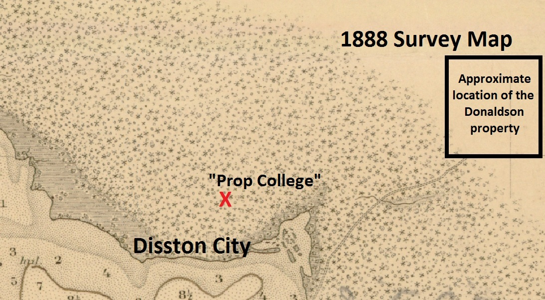 """A sepia tones map from 1888 showing the locations of """"Prop College"""" in Disston City, Florida"""