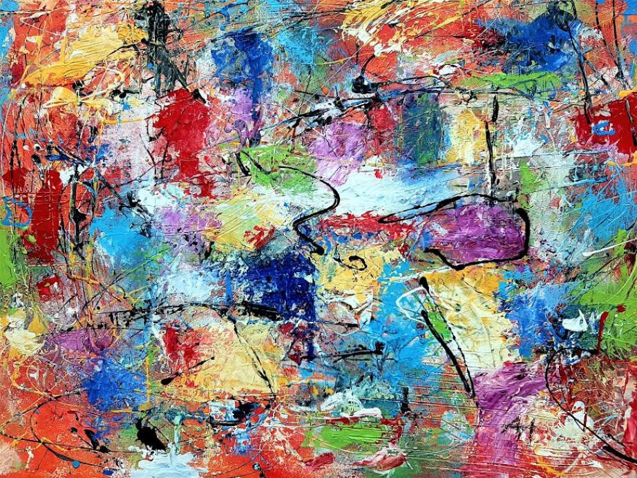 A colorful piece of abstract art.