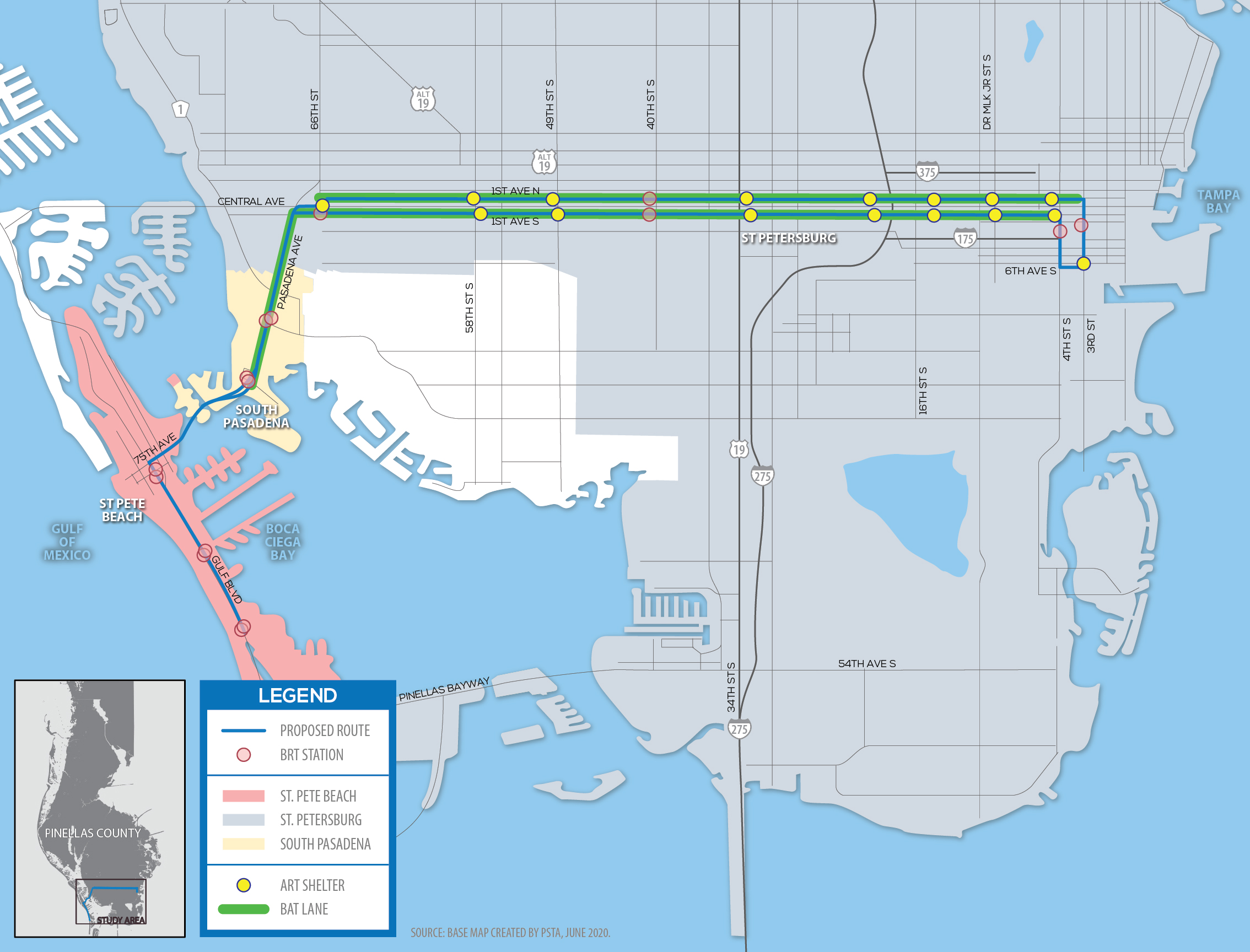 A map of southern Pinellas County Florida showing an east-west route of a city bus that goes south on the west end to St. Pete Beach.