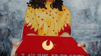"""A painting of a woman in a yellow and red blouse holding a bright red book that reads """"400 years 1816-2019"""""""