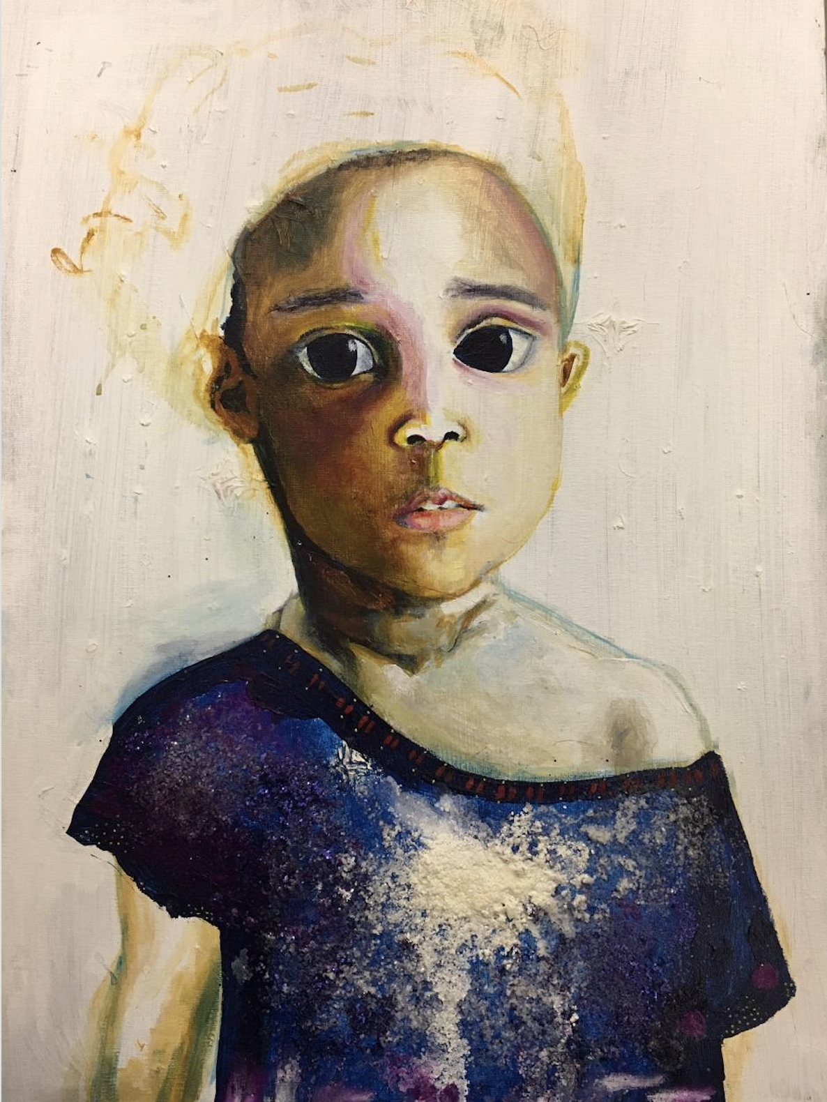 A panting of a little girl with big dark eyes in muted colors.