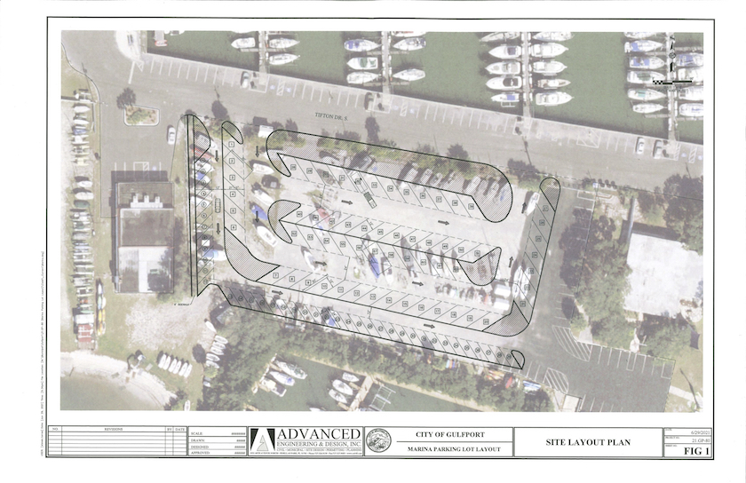 """An architectural site layout plan for a marina area with a proposed parking change drawing overlaid on an aerial photo with the words """"City of Gulfport Marina Parking Lot Layout"""" and """"Advanced Engineering & Design"""" written on the bottom with respective logos."""