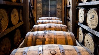 Brown barrels in a row