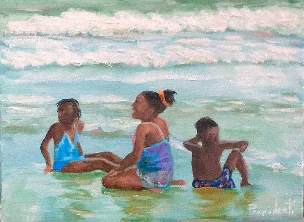 An impressionist painting of a family playing in the sand on the beach.