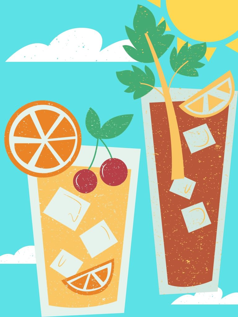 A cartoon of a mimosa and a bloody mary