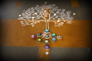 Painted mandala with rocks