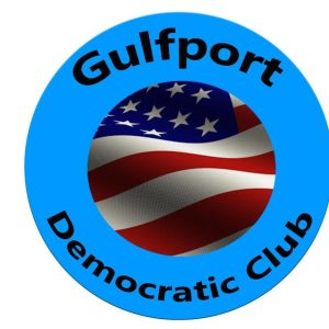 """A blue circular seal with an American flag in the middle that reads """"Gulfport Democratic Club"""""""