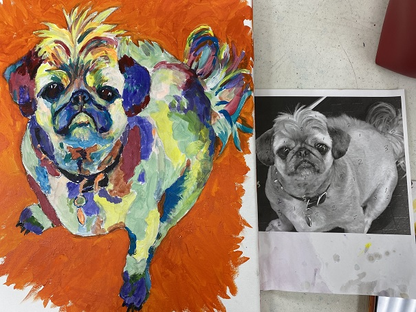 A painting pf a pug in abstract color next to a black and white photograph of a pug.