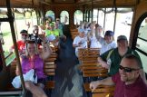 Volunteer pickers ride the Gulfport trolley to their cleanup areas Saturday.