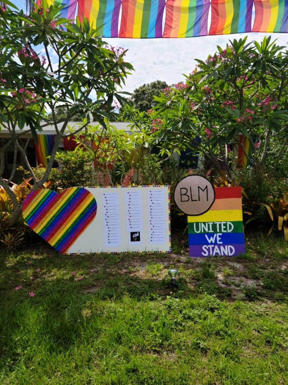"Gulfport Vice Mayor Paul Ray and resident Jon Ziegler created a memorial to honor Pulse victims as well as a gold Black Lives Matter medallion created by Ziegler with the words ""United We Stand,"" Both can be viewed in front of Ziegler's residence at 2008 59th St. S. in Gulfport. Photo courtesy of Paul Ray."