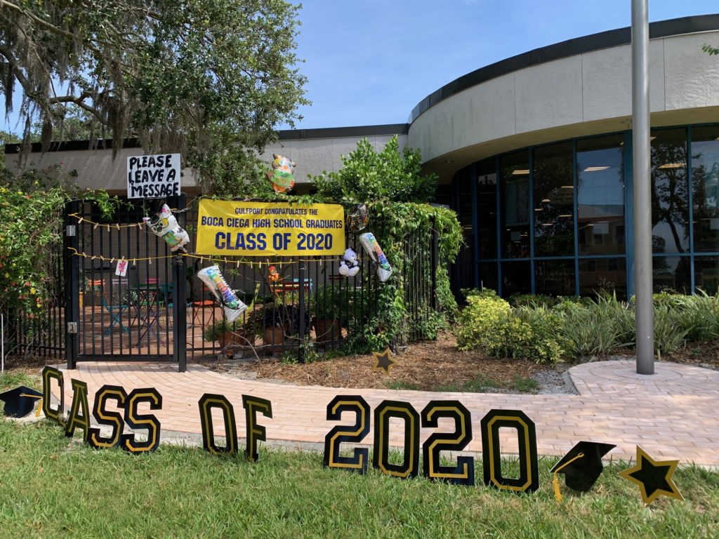Messages to the BCHS Class of 2020 hang outside the Gulfport Library