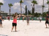 Tampa Bay Beach Bums warm up on one of Gulfport's regular volleyball courts before their game gets underway Saturday.