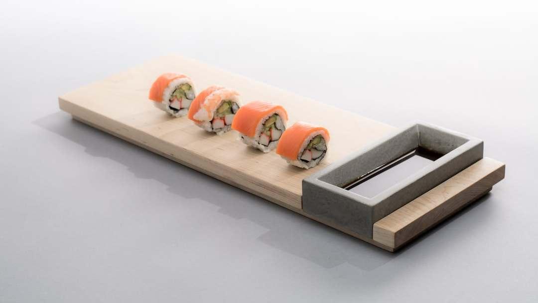 Komolab Concrete Bowl & Wood Appetizer Tray Dining Set