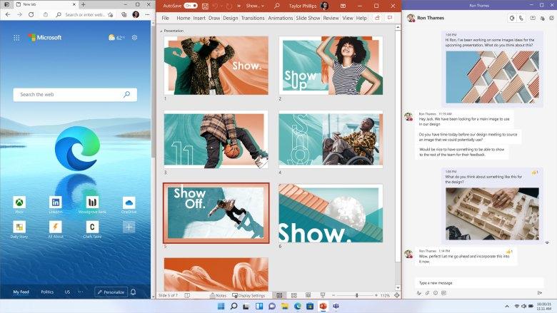 Snap Layouts בווינדוס 11. צילום מסך
