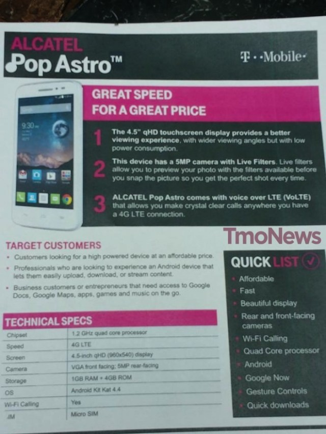 T-Mobile bound Alcatel OneTouch Pop Astro specs detailed