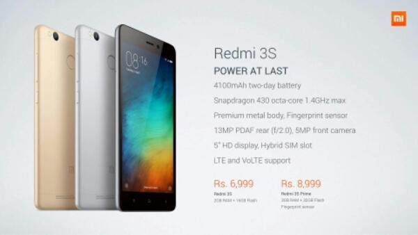 Xiaomi Redmi 3S Prime, Redmi 3S Debuts in India