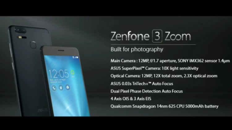 CES 2017: ASUS Zenfone 3 Zoom with 2.3X Optical Zoom, 5000mAh Battery