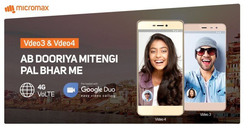 Micromax Vdeo 3, Vdeo 4 Debuts with 4G VoLTE, Google Duo app