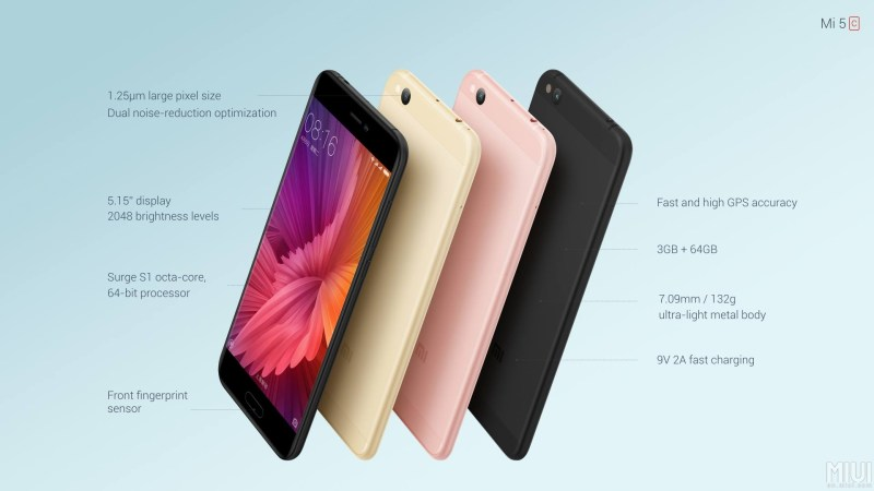Official: Xiaomi Mi 5c with Octa-Core Surge S1 SoC, 64GB Storage