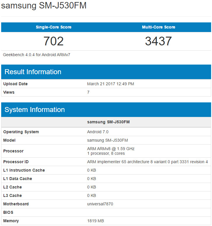 Samsung Galaxy J5 2017 (SM-J530) Benchmarked With 12MP Selfie Camera, Android 7.0