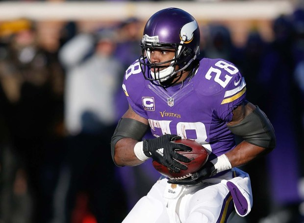 Adrian Peterson, who will be 32 this March, is hitting the open market.  (Scott Boehm/Associated Press
