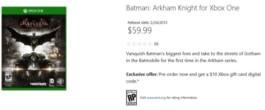 Batman Arkham Knight store page