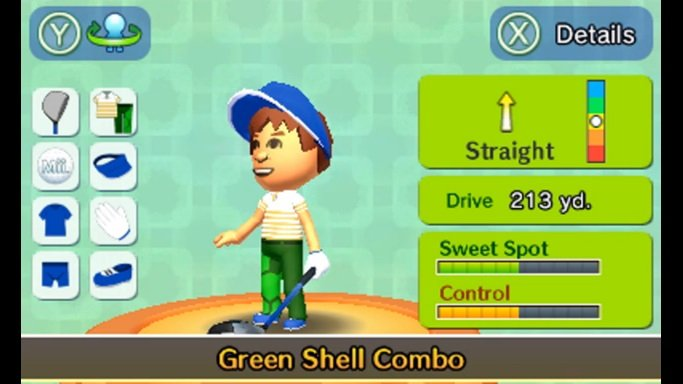 you can customize your Mii with various clothing options that affect your stats such as drive distance.