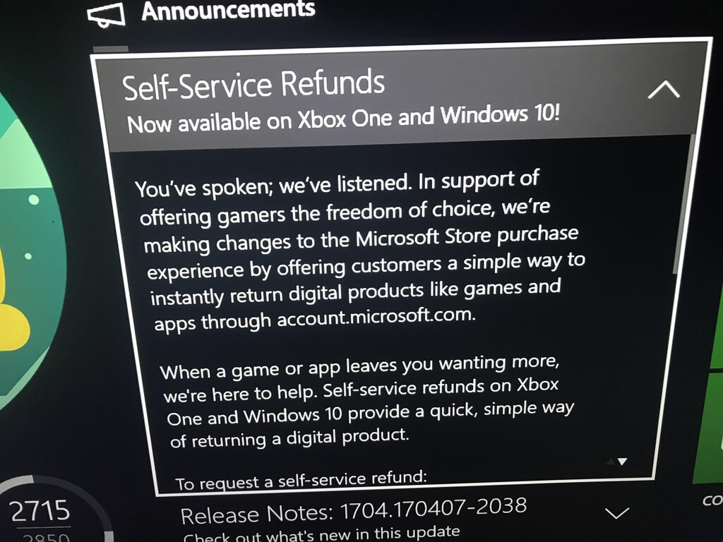 Refunds on Xbox