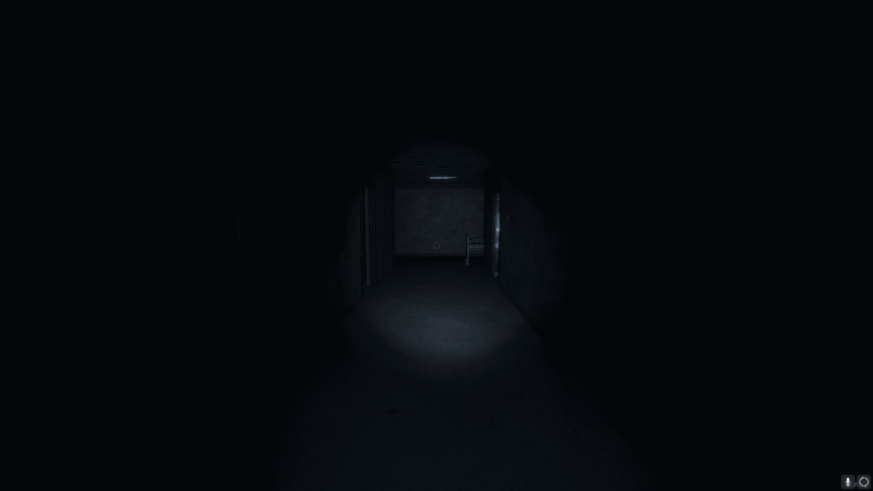 Empty abandoned hospital hallway lit by flashlight.