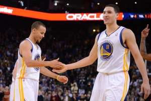 """Curry and teammate Klay Thompson have become known as the """"Splash Brothers,"""" thanks to their three point ability. Courtesy: The Big Lead"""