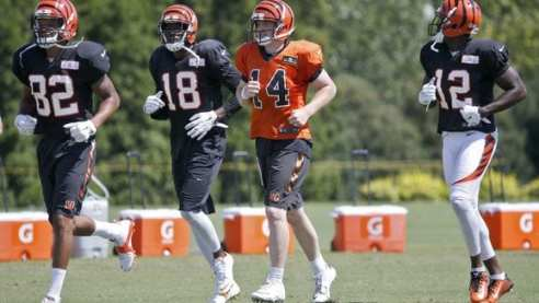 Andy Dalton, 14, and A.J. Green, 18, could be without Mohamed Sanu, 12, and Marvin Jones, 82, in 2016. (Photo by: Cincinnati Enquirer)