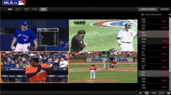 MLB.TV allows you to watch four games at once, but not in-market. (Photo By: MLB Marketing)