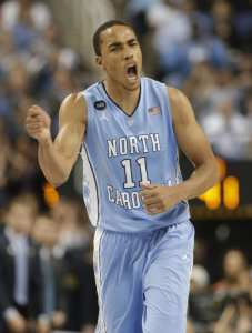 North Carolina's Brice Johnson celebrates after a basket against Notre Dame during the second half of an NCAA college basketball game in the championship of the Atlantic Coast Conference tournament Saturday, March 14, 2015, in Greensboro, N.C. (AP Photo/Bob Leverone)