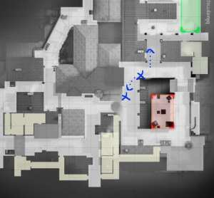 mixwell often would advance to top mid when it was smoked. If he heard retreating footsteps, he would rotate to B.