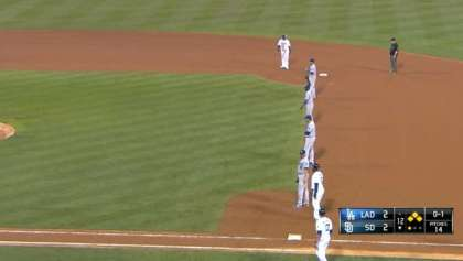 The Los Angeles Dodgers used a four-man, right side of the infield in a game against the San Diego Padres. (Photo Courtesy, MLB.com)