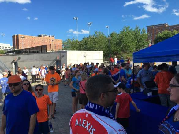 Line for merchandise an hour before kickoff.
