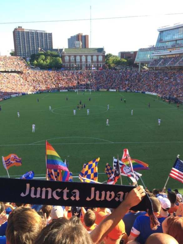 """Flags waving in """"The Bailey"""" right before kickoff."""