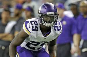 Minnesota Vikings cornerback Xavier Rhodes (29) lines up against the Detroit Lions during a NFL football game in Detroit, Tuesday, Sept. 10, 2013. (AP Photo/Paul Sancya)