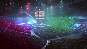 Massive crowd cheering inside arena during Nintendo eSports tournament.