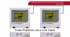 Two Game Boys trading Pokémon using a Game Boy Link Cable
