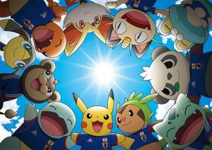 Pikachu and other Pokémon huddle during sports.