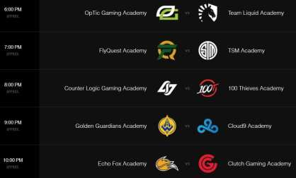 The 2018 Academy League Spring Split schedule is available online