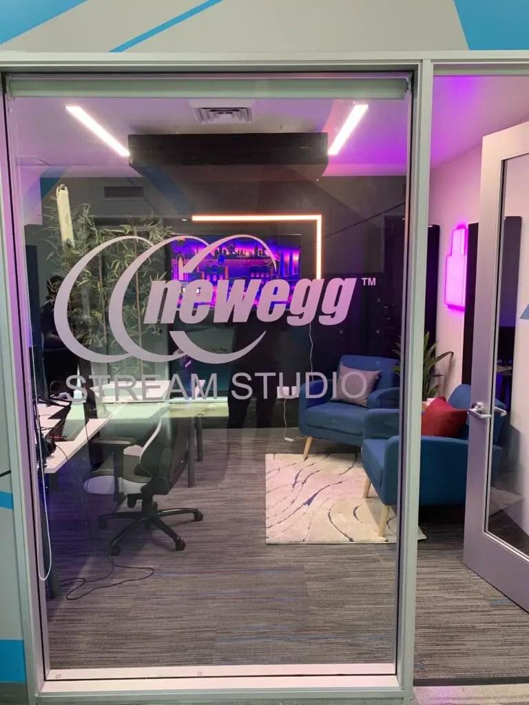 Outside CLG's Newegg Open Streaming Studio.