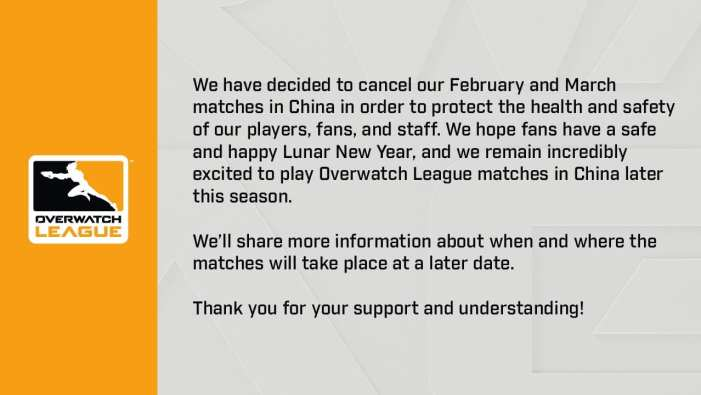 Overwatch League Chinese Homestand Cancelled until March