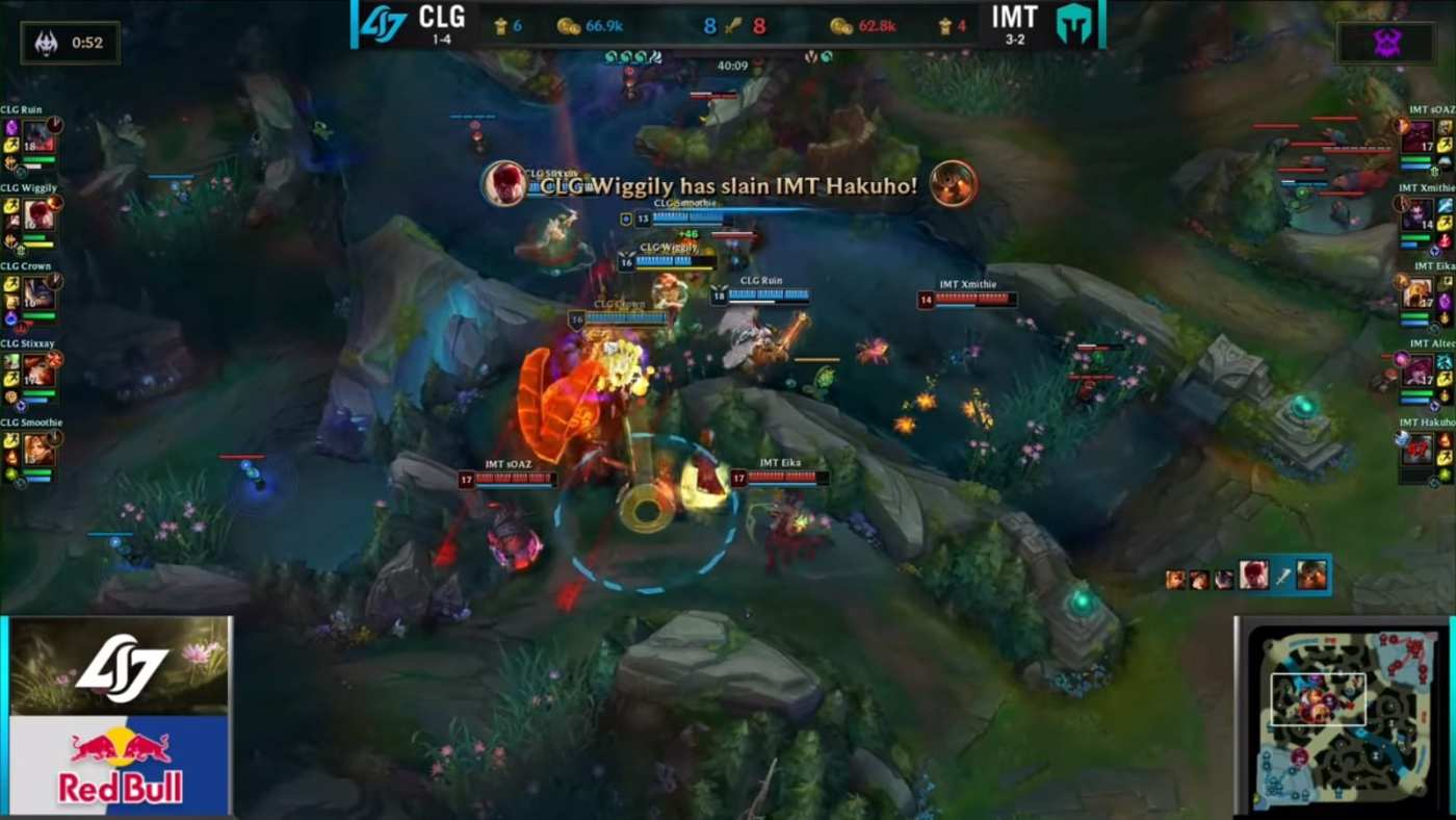 Altec pushes mid, while CLG fights IMT at Baron.