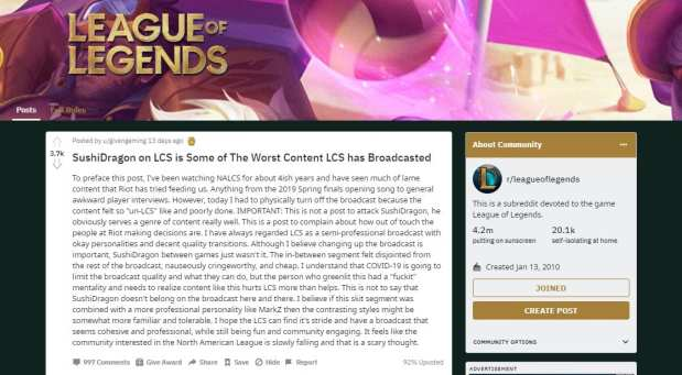Fans took to Reddit to complain about the LCS broadcast.