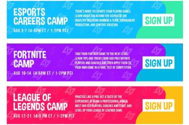 Sign up for Esports Careers Camp, Fortnite Camp and/or League of Legends Camp with Junior CLG.