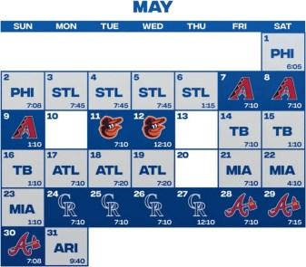 Mets May Schedule